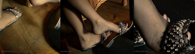 Candid shoeplay. Nylon feet dangling.