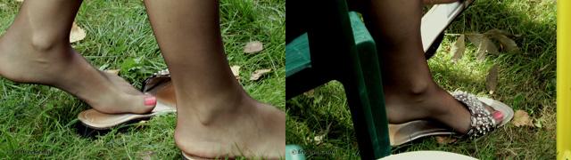 Nylon feet in the park